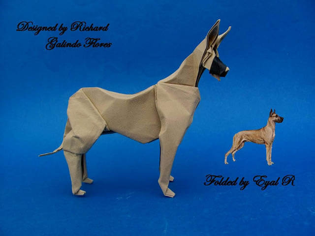 How to make Easy and Advanced Origami Puppy & Dogs, Japanese Folding Face Dog & Puppy Origami - This origami & image (c) by Richard Galindo Flores and Folded by Eyal R