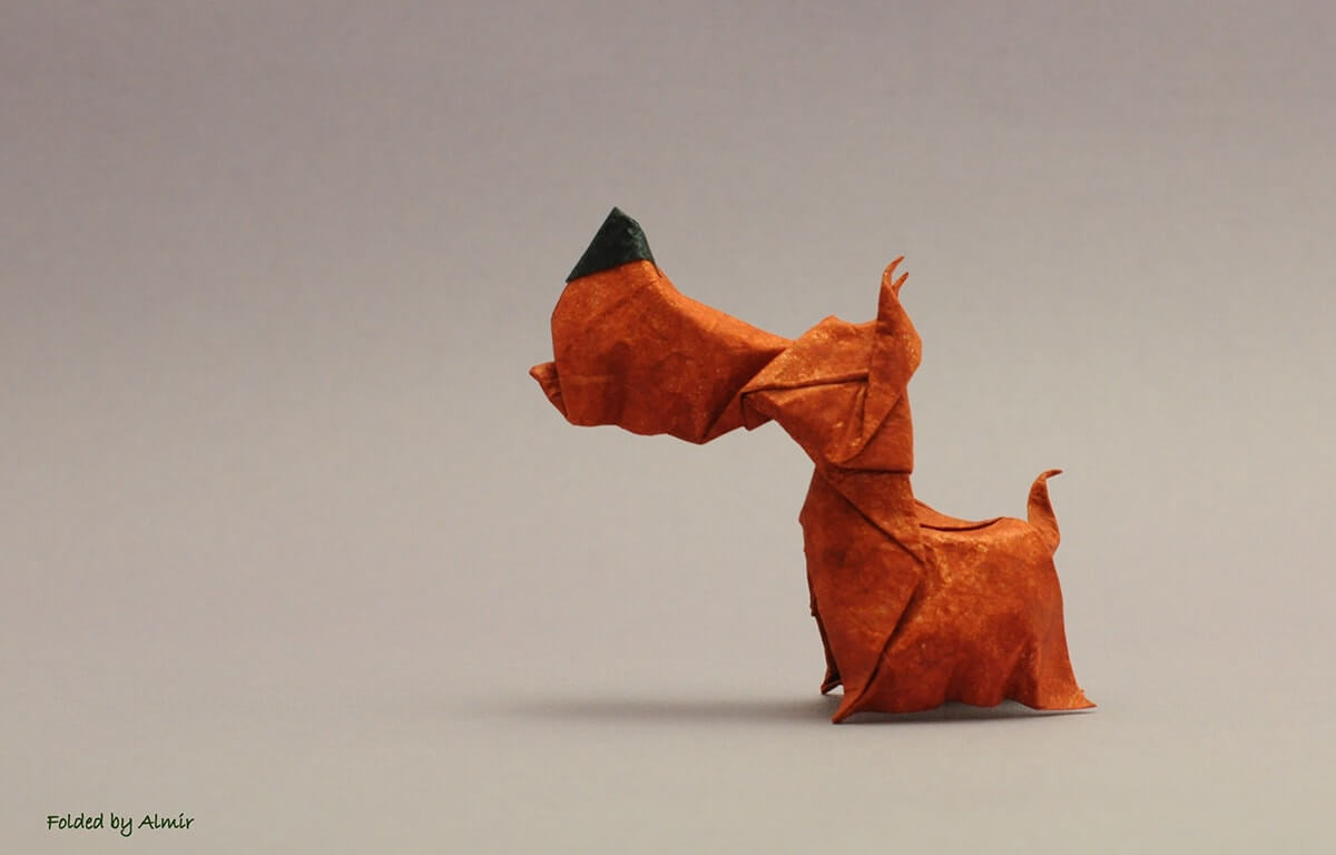 How to make Easy and Advanced Origami Puppy & Dogs, Japanese Folding Face Dog & Puppy Origami - This origami & image (c) by Hoang Tien Quyet and Folded by Alex Mironenko