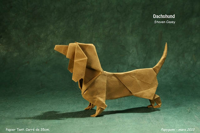How to make Easy and Advanced Origami Puppy & Dogs, Japanese Folding Face Dog & Puppy Origami - This origami & image (c) by Steven Casey and Folded by Luc MARNAT