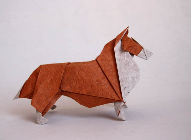 How to make Easy and Advanced Origami Puppy & Dogs, Japanese Folding Face Dog & Puppy Origami - This origami & image (c) by Nicolas Gajardo