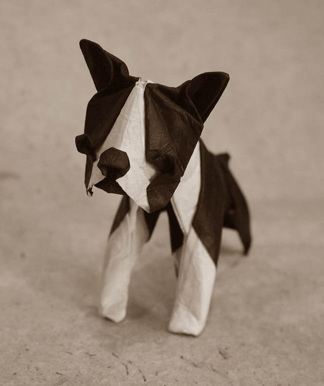 How to make Easy and Advanced Origami Puppy & Dogs, Japanese Folding Face Dog & Puppy Origami - This origami & image (c) by Hiroaki Kobayashi