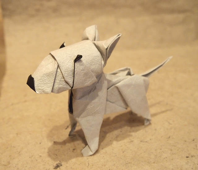 How to make Easy and Advanced Origami Puppy & Dogs, Japanese Folding Face Dog & Puppy Origami - This origami & image (c) by Roman Díaz and Folded by Jaime Nino