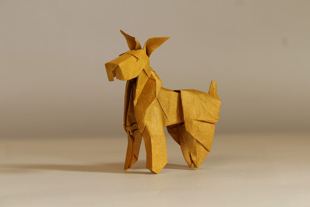 How to make Easy and Advanced Origami Puppy & Dogs, Japanese Folding Face Dog & Puppy Origami - This origami & image (c) by Fumiaki Kawahata and Folded by Francisco Jose Gonzalez Alcazar