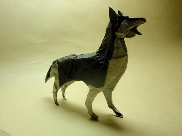 How to make Easy and Advanced Origami Puppy & Dogs, Japanese Folding Face Dog & Puppy Origami - This origami & image (c) by Satoshi Kamiya and Folded by Gonzalo