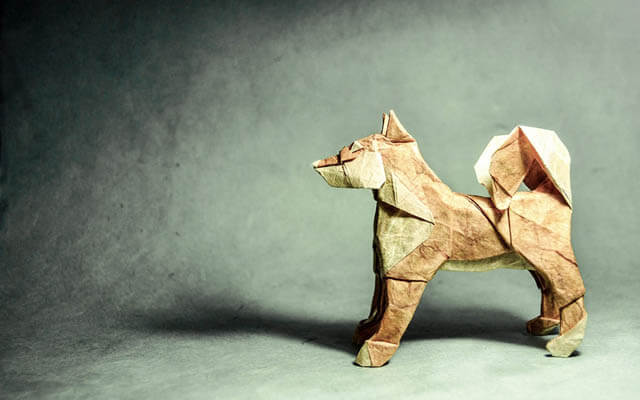 How to make Easy and Advanced Origami Puppy & Dogs, Japanese Folding Face Dog & Puppy Origami - This origami & image (c) by Richard Galindo Flores and Folded by Luc MARNAT