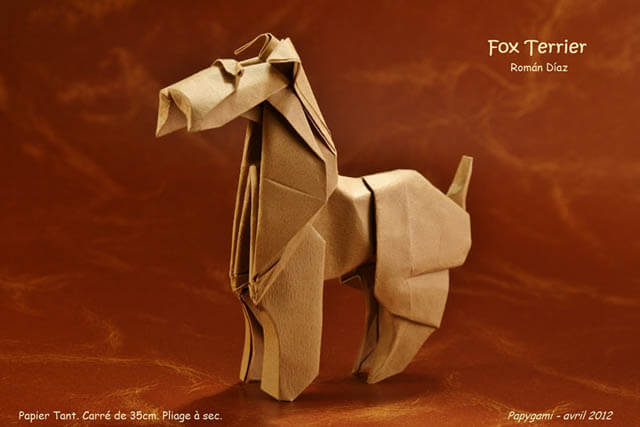 How to make Easy and Advanced Origami Puppy & Dogs, Japanese Folding Face Dog & Puppy Origami - This origami & image (c) by Román Díaz and Folded by Luc MARNAT