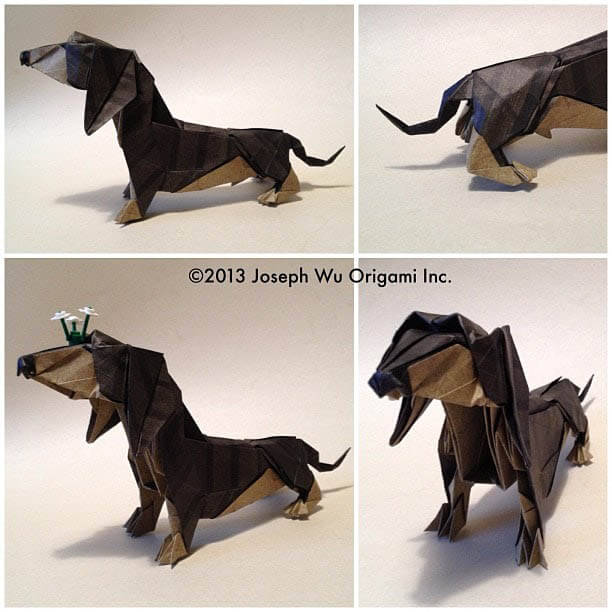 How to make Easy and Advanced Origami Puppy & Dogs, Japanese Folding Face Dog & Puppy Origami - This origami & image (c) by Joseph Wu