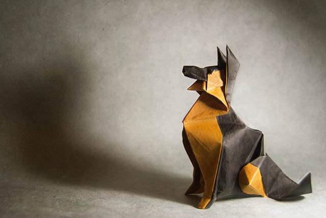 How to make Easy and Advanced Origami Puppy & Dogs, Japanese Folding Face Dog & Puppy Origami - This origami & image (c) by Roman Díaz and Folded by Gonzalo