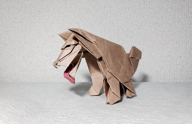 How to make Easy and Advanced Origami Puppy & Dogs, Japanese Folding Face Dog & Puppy Origami - This origami & image (c) by Yoshimasa Tsuruta