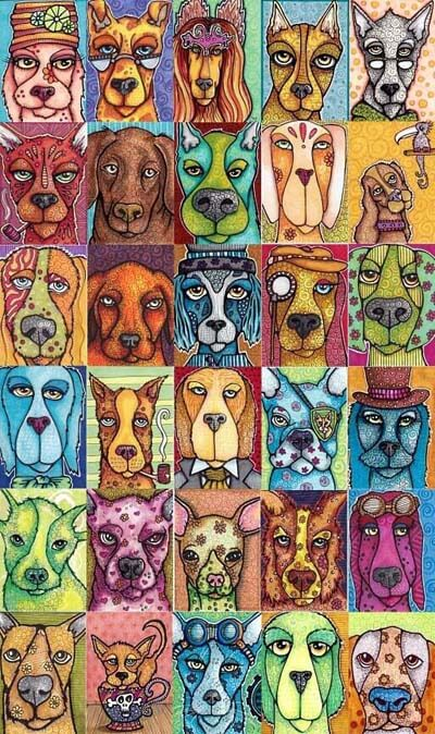 DOG ART CARDS, DRAWINGS, PAINT (c) by Cindy Dauer