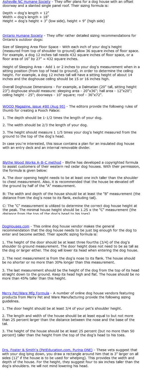 THIS INFORMATION PROVIDED by WWW.ALL-ABOUT-DOG-HOUSES.COM