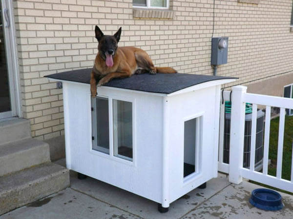 White Outdoor Doghouse - BEST OUTDOOR DOG & PUPPY HOUSES, KENNELS, CAGES, CRATES, IGLOOS, HOMEMADE AND DIY DOGHOUSES
