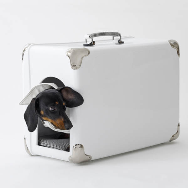WHITE SUITCASE CREATIVE DESIGNER DOG & PUPPY HOUSES, KENNELS