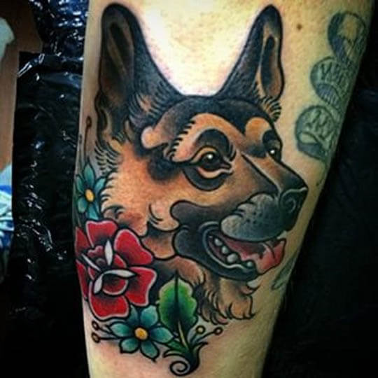BEST GERMAN SHEPHERD DOG TATTOO DESIGNS