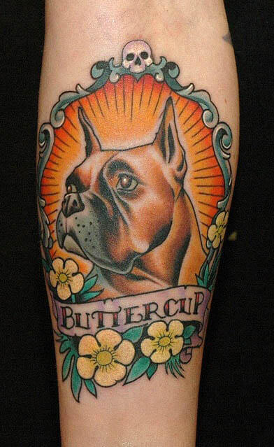 BEST BOXER DOG TATTOO DESIGNS