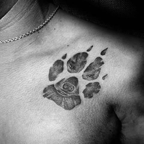BEST PAW SHAPED FRIEND DOG TATTOO DESIGNS