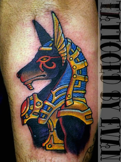 ANCIENT ANUBIS MYTHOLOGICAL DOG TATTOO DESIGNS