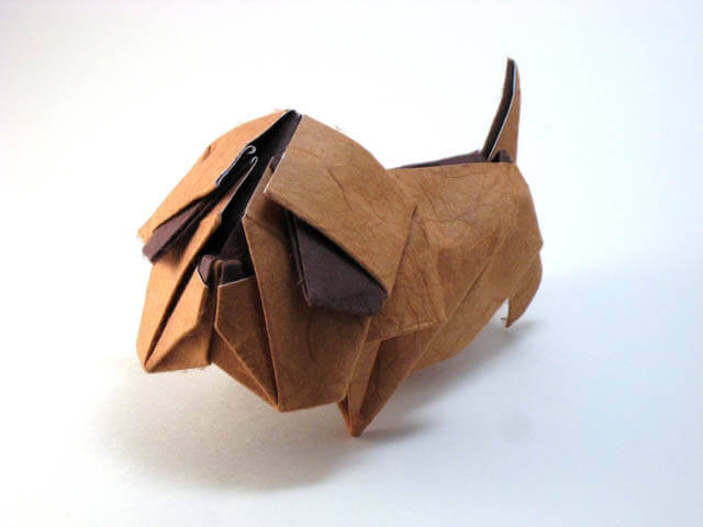 Bulldog by Jacky Chan (Press to Buy online this Origami Dog Template)
