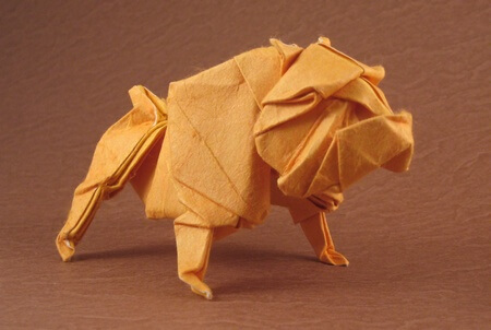 Bulldog by Quentin Trollip (Press to Buy online this Origami Dog Template)