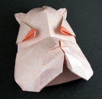 Bulldog mask by Juan Gimeno (Press to Buy online this Origami Dog Template)