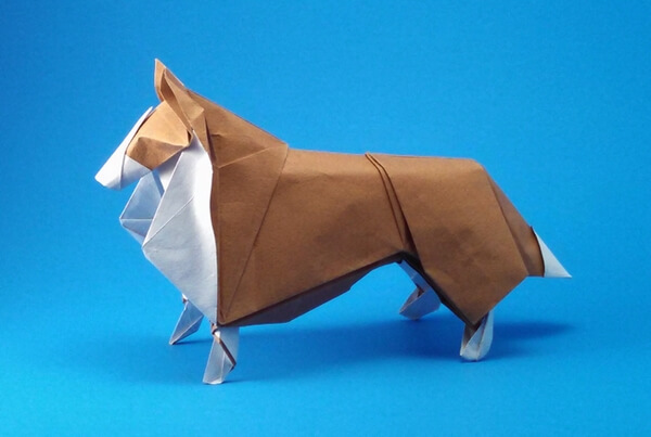 Collie by Nicolas Gajardo Henriquez (Press to Buy online this Origami Dog Template)