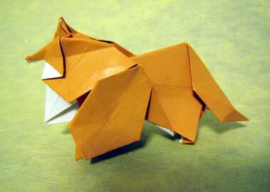Collie by Watanabe Dai (Press to Buy online this Origami Dog Template)