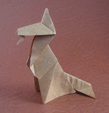 Alsatian dog by Eric Kenneway (Press to Buy online this Origami Dog Template)