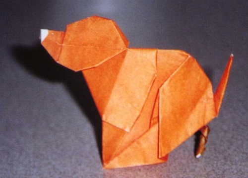 Dog Liberating by Luis Fernandez Perez (Press to Buy online this Origami Dog Template)