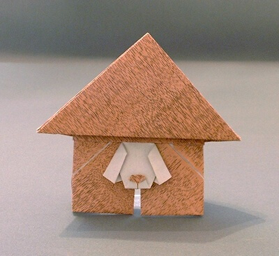 Dog in doghouse (2D) by Stephen Weiss (Press to Buy online this Origami Dog Template)