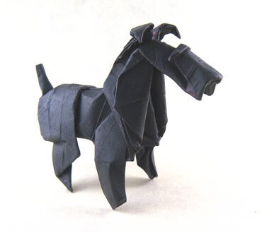 Fox terrier by Roman Diaz(Press to Buy online this Origami Dog Template)