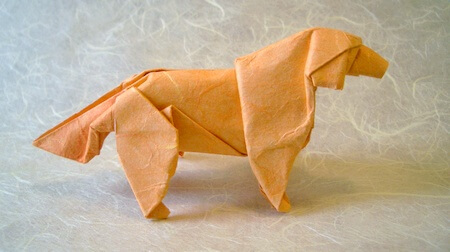 Golden retriever by Satoshi Kamiya (Press to Buy online this Origami Dog Template)