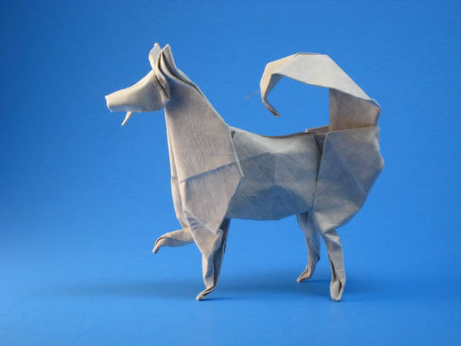 Husky by John Montroll (Press to Buy online this Origami Dog Template)