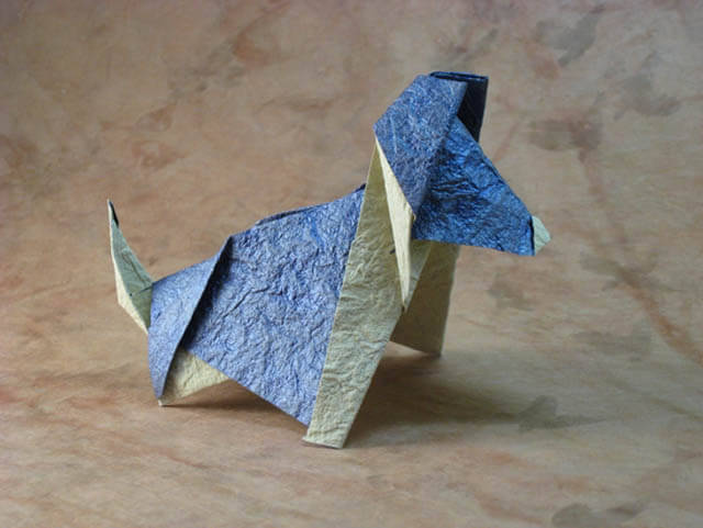 Kanji the dog by Richard L. Alexander (Press to Buy online this Origami Dog Template)