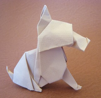 Scottie dog - sitting by Neal Elias (Press to Buy online this Origami Dog Template)