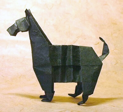 Scottish terrier by John Montroll (Press to Buy online this Origami Dog Template)