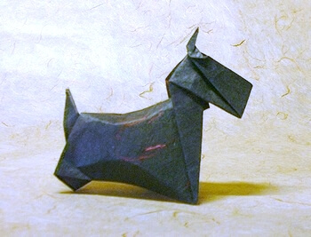 Scottish Terrier by Yasuhiro Sano (Press to Buy online this Origami Dog Template)