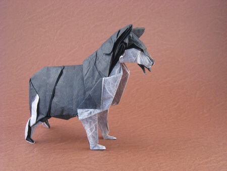 Siberian husky by Fumiaki Kawahata (Press to Buy online this Origami Dog Template)