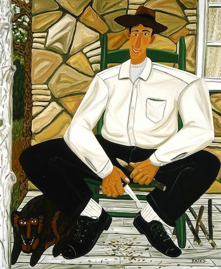 This image (c) by David Bates, The Whittler, 1983, oil on canvas. BLANTON MUSEUM OF ART/ MICHENER ACQUISITIONS FUND, 1983.123.