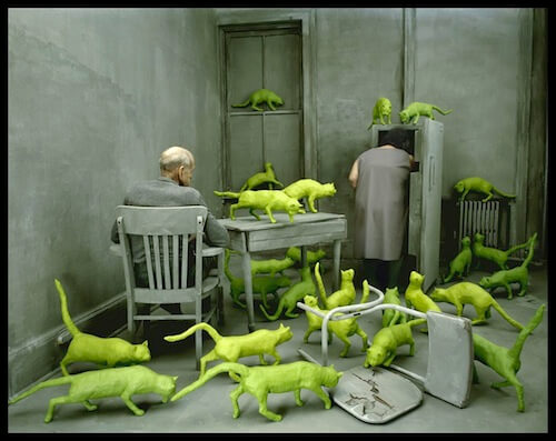 This Image (c) Sandy Skoglund, Radioactive Cats, 1980 - Dog and cat Art, dog vs cat