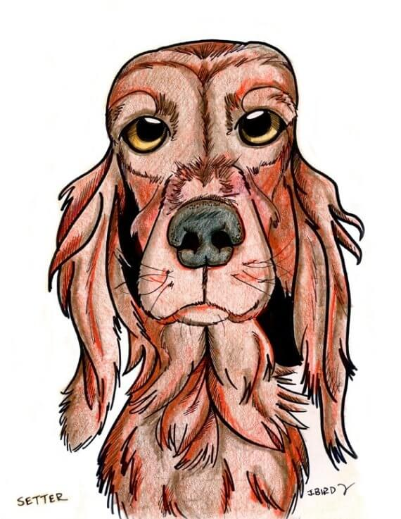 DOG ART, DRAWINGS, PAINT, Dogicature (c) by J.Bird